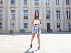 anouska full outfit stripe shorts white top in prague