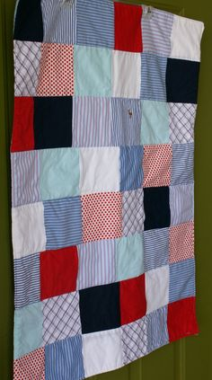 Red White & Blue Upcycled Baby Quilt by ragsandrichesthrift, $48.00