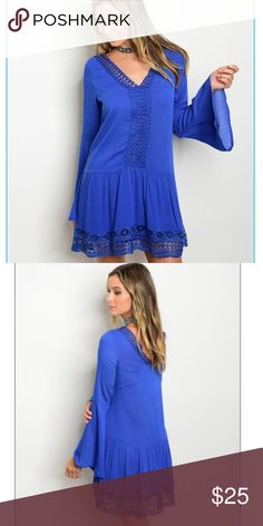 Amazing blue crochet dress This is my new favorite! This amazing blue dress is 100% rayon and 35 inches long. Has great crochet detailing. MSRP is $60, my price $25. Don't miss out! boutique Dresses Midi