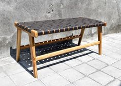Woven Leather Strap Bench