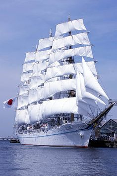 """""""KAIWO MARU II"""" is a 4 Masted Japanese Barque – Completed: 12 September 1989 as a Sailing Training Ship – Complement: 199 Officers, Sailors – Seen in Yokohama, Japan Old Sailing Ships, Full Sail, Float Your Boat, Wooden Ship, Tug Boats, Submarines, Tall Ships, Water Crafts, Cruises"""