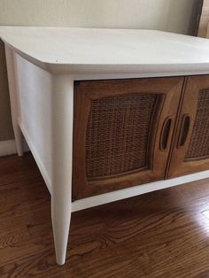 AVAILABLE: White Midcentury Accent Table / Painted Table /