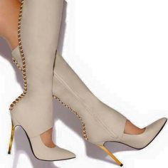 Chic and sexy boots Knee High Heels, High Heel Boots, Heeled Boots, Bootie Boots, Sexy Boots, Sexy Heels, White Boots, Tan Boots, Knee Boots