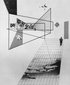 Herbert Matter - Photomontage (For Arts Architecture), 1945 - architektur Architecture Graphics, Architecture Drawings, Architecture Portfolio, Architecture Design, Architecture Geometric, Black Architecture, Architecture Diagrams, Photomontage, Herbert Matter
