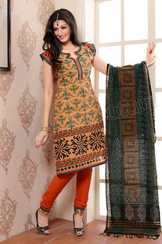 Natasha Couture Orange Printed Cotton Salwar Kameez - StyleHoster | StyleHoster