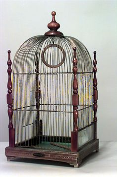 English #Victorian walnut hanging bird cage with 4 turned sides and finials #Steampunk