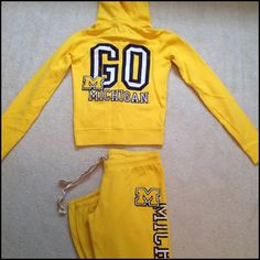 "Victoria's Secret PINK UofM Sweats Michigan hoodie and sweatpants set from the PINK collegiate collection. Top is XS, bottoms are S. 60% cotton, 40% polyester. Inseam on pants is 24"" and ankles are banded. Worn once. PINK Victoria's Secret Other"