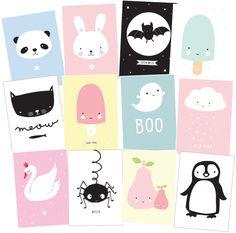 Deko für's Kinderzimmer: A Little Lovely Company Postkarten-Set Cute Kids. Mehr Infos auf https://www.kleinefabriek.com/.