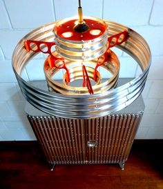 Corrugated metal design furniture: Pendant lamp and cabinet. Aluminum corrugation lightweight design by AERO-1946.