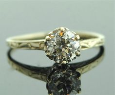 Antique 1920s  Diamond Ring  14k Yellow Gold Diamond by SITFineJewelry <3 Gatsby style ;)