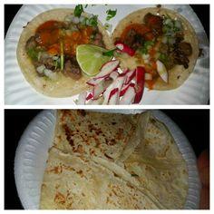 Dos Suadero Tacos & a Cheese Quesadilla - Tacos La Doña Taco Truck (San Gabriel Valley area of L.A.) Los Angeles, CA