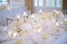 Pretty white wedding tablescape {Photo by Shea Christine via Project Wedding}