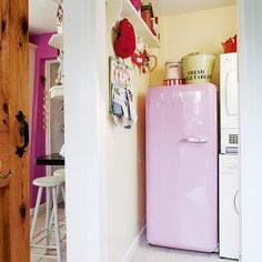 Indulge your love of pastel colours with a funky retro fridge in bubblegum pink. Use another shade of pink on the kitchen walls to tie the two rooms together. Keep the utility room organised with labelled storage, a notice board and hooks. Vintage Fridge, Vintage Refrigerator, Retro Fridge, Pink Smeg Fridge, Small Places, Room Pictures, Mid Century House, Home Kitchens, Retro Kitchens