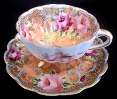 Nippon beaded footed cup and saucer  Tea and therapy is for anyone who has problems that need a solution.