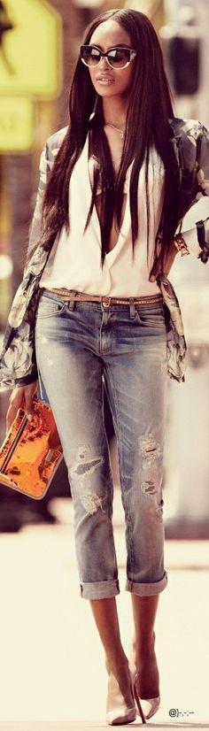 Juicy Couture Jeans, Silk Blazer Dries van Noten, Shoes Christian Louboutin, Handbag Emporio Armani, Sunglasses Louis Vuitton, Gold Bracelet Cartier, Gold Watch Gucci @}-,-;--