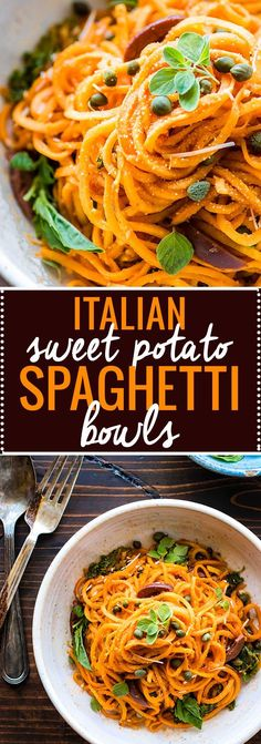 Snappy Italian Sweet Potato Spaghetti made with spiralized sweet potatoes in zesty tomato sauce. This dish is easy to make to one pot with simplepaleo/vegan friendly ingredients already in your pantry! Whip up theseItalian Sweet Potato Spaghetti bowls i