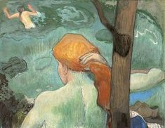 Cloisonnism - Art History 101 Basics: Paul Gauguin (French, The Bathing Place (La Baignade), Gouache, watercolor, pastel and gold paint on green wove paper mounted on panel. x 45 cm x 17 in. Paul Gauguin, Henri Matisse, Pablo Picasso, Francis Picabia, Impressionist Artists, Cleveland Museum Of Art, Art Moderne, French Artists, Figure Painting
