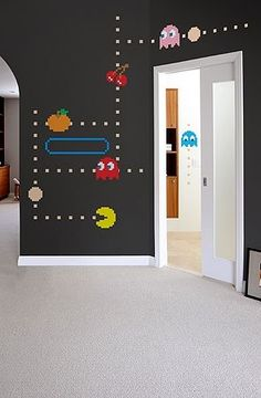 Pac-Man Wall Decals Love it! - perfect for kids room and/or game room if you have such a commodityLove it! - perfect for kids room and/or game room if you have such a commodity Deco Gamer, Vintage Video Games, Game Room Design, Games Design, Gamer Room, Nerd Room, Game Room Decor, Mens Room Decor, Room Setup