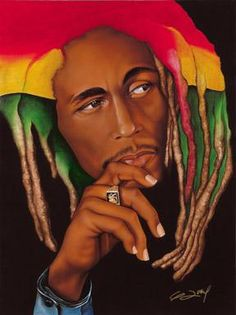One Love(Bob Marley) by Gerald Ivey African American Art, African Art, Caricatures, Art Caribéen, Art Black Love, Art Amour, Première Communion, Foto Poster, By Any Means Necessary