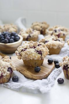 These are a family favorite! Fluffy blueberry muffins topped with a buttery cinnamon crumble topping just like the bakery makes. Blueberry Crumb Muffins, Homemade Blueberry Muffins, Blue Berry Muffins, Blueberry Recipes, Cookie Recipes, Snack Recipes, Dessert Recipes, Desserts, Bread Recipes