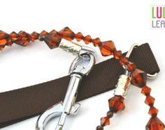 Bailey Dog Lead - Handmade with Brown Beads - Jewelled Decorative Dog Lead…