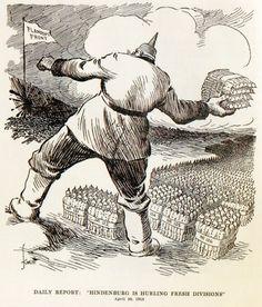 "W. Knott, 'Daily Report: 'Hindenburg is hurling fresh Divisions', in 'Dallas News' (Verenigde Staten, 20 april 1918) Vertaling titel: 'Dagelijkse berichtgeving: 'Hindenburg slingert verse divisies'. Op de vlag staat: ""Flanders Front"" ('Vlaams front')"