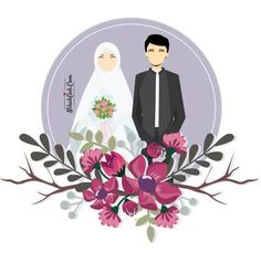 Wedding couple cartoon muslim Ideas for 2020 Fun Wedding Invitations, Wedding Cards, Wedding Gifts, Wedding Illustration, Couple Illustration, Wedding Couple Cartoon, Muslim Couple Photography, Muslimah Wedding Dress, Cute Muslim Couples