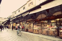 Ponte Vecchio in Florence, Italy - hubs and I upgraded my wedding band in one of those little shops...