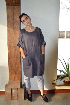 Pure Linen tunic  Brownish eggplant Linen dress by pureWHITEspa