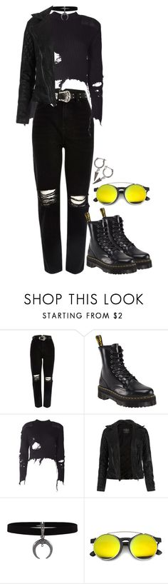 """Untitled #243"" by littledeadridinghood2014 ❤ liked on Polyvore featuring River Island, Dr. Martens, adidas Originals, AllSaints, ZeroUV and H&M"