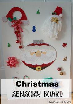 Christmas Sensory Board. Easy, DIY, affordable, sensory board.