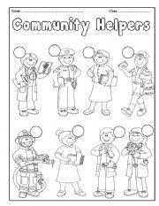 English worksheet: Community Helpers   English Language Learners ...