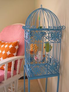 Painted Birdcage with fabric birds displayed inside. Cute. Birdcage ideas / Decor