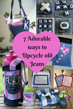 7 Adorable ways to Upcycle old Jeans - from Pot Holders to a game of Tic Tac Toe - some great ideas and all with full tutorials.