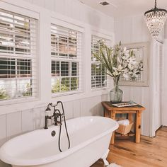 The perfect place to find yourself after a long hike in the mountains. Cabin Bathrooms, Gatlinburg Cabin Rentals, Clawfoot Bathtub, Modern Decor, Perfect Place, Favorite Things, Interior Decorating, River, Rustic