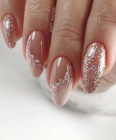 wedding nail designs 25 Latest Wedding Nail Hair Loss, Not The Manicure Nail Designs, Nail Manicure, Nail Art Designs, Manicure Ideas, Cute Nails, My Nails, Glitter Nails, Nagellack Design, Nagellack Trends