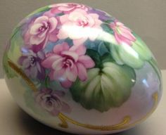 Original Design by Irene Graham Double Violets on Large Egg with gold scrolls