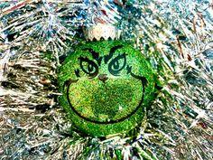 Grinch Ornament Grinch Face Glitter Ornament Custom Grinch | Etsy