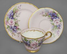 Aynsley vintage china cup, saucer & plate trio, pink & gold c1930s FREE post UK/Overseas postage reduced