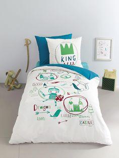 """Bettbezug und Kissenbezug """"Ritter"""" von Vertbaudet in drachen - Nur € 2,95 Versand! Kinderzimmer jetzt bei Vertbaudet bestellen!"""
