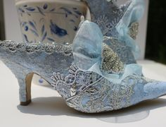 Something Blue Bridal Shoes Low Heel Shoes, Low Heels, Vintage Shoes, Vintage Lace, Vintage Bridal, Vintage Weddings, Vintage Silver, Marie Antoinette, Silver Bridal Shoes