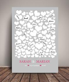 **Personalisiertes Gästebuchposter für die Hochzeit als Kunstdruck in DIN A3 in grau-pink**  Dieses schöne Gästebuch Poster ist eine moderne Alternative zu den klassichen Gästebüchern und auch...