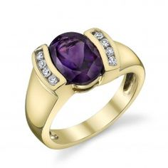 14K Yellow Gold Arizona Four Peaks Amethyst & diamond ring created by Sami Fine Jewelry.