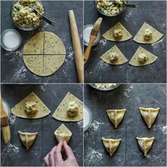 Don& be intimidated by the idea of making samosas—crispy, flaky fried Indian pastries—at home. Learn the technique for how to fold samosas into a triangle. Indian Snacks, Indian Food Recipes, Jain Recipes, How To Fold Samosas, How To Cook Samosa, Aperitivos Vegan, Tandoori Masala, Snack Recipes, Cooking Recipes