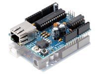 Velleman KA04: Ethernet Shield for Arduino  Configure your Arduino as a simple web server or let it get data from the worldwide web.  Also available as completely mounted module VMA04.