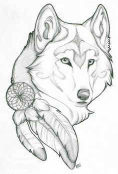 Image result for white wolf tattoo native american feather