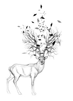 Women's Screen Printed T-Shirt - Hand Drawn Elk with Tree Antlers and Triangles. $22,50, via Etsy.