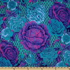 Kaffe Fassett Spring 2012 Collective Cabbage Rose Blue from @fabricdotcom Kaffe Fassett is known for his bold prints and great sense of color. This vibrant cotton print fabric is perfect for quilting, apparel, crafts and home décor accents. Colors include turquoise, jade, purple, pink and royal.