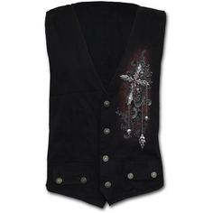 Mens CROSS OF DARKNESS Gothic Waistcoat Four Button with Lining Shop Online From Spiral Direct, Gothic Clothing, UK