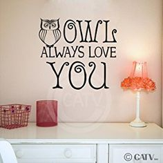(OWL 2) Owl Always Love You wall saying vinyl lettering art decal quote sticker home decal